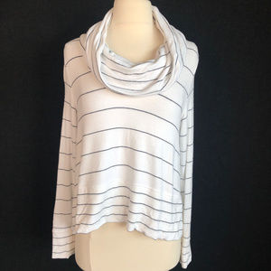 Lou & Grey Ultra Soft Cowl Neck Stripe Oversie Top